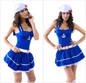 skirt,blue sleeveless costume