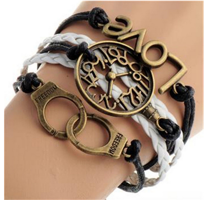 Fashion punk vintage bronze watch shape &handcuffs wrap charms bracelets for men & women diy jewelry free shipping 2pcs p1298