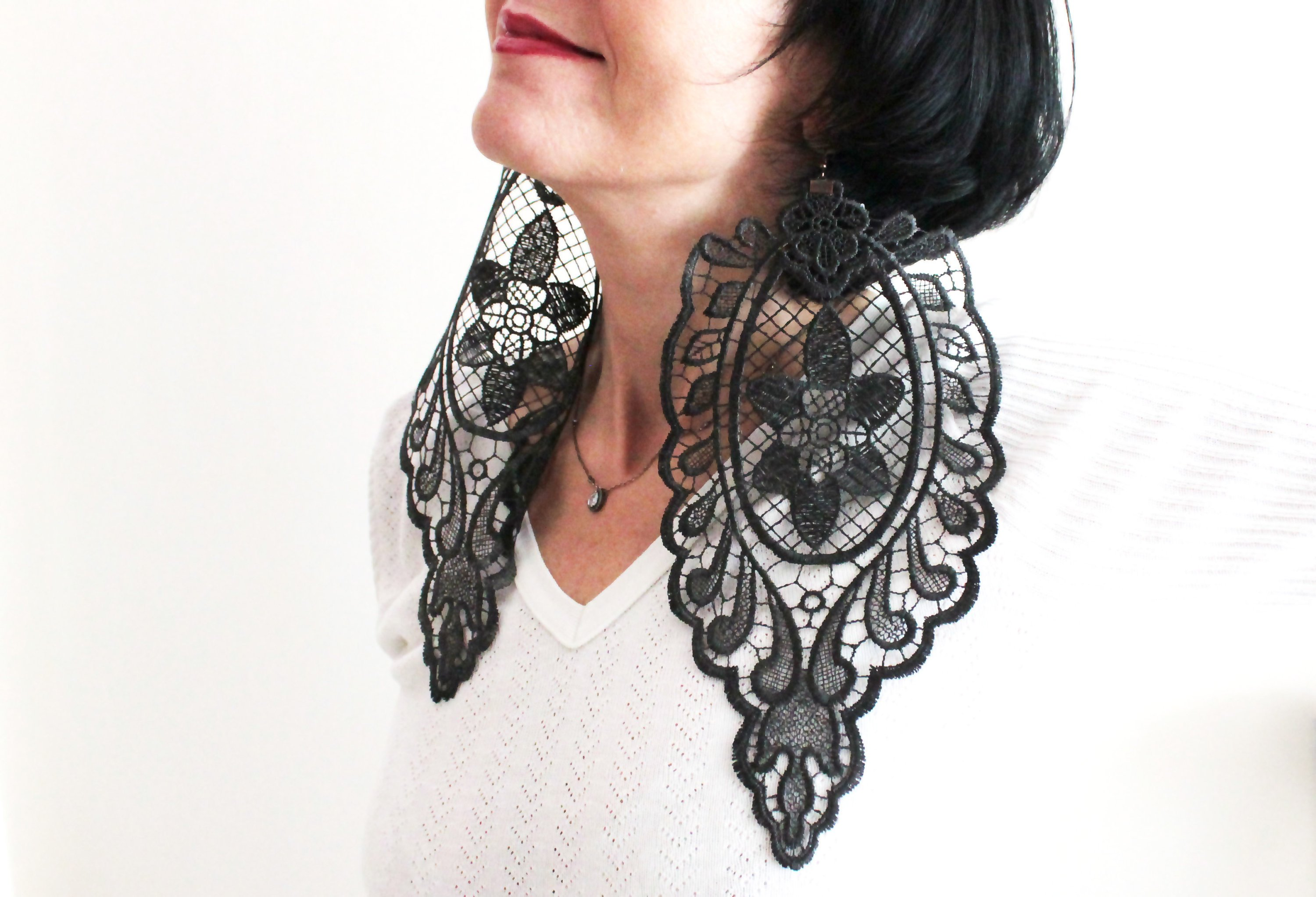 Oversized Lace Earrings Unique Gifts Handmade Black Lace Earrings Boho Gothic Steampunk Earring Statement Earrings Mom Gift For Her
