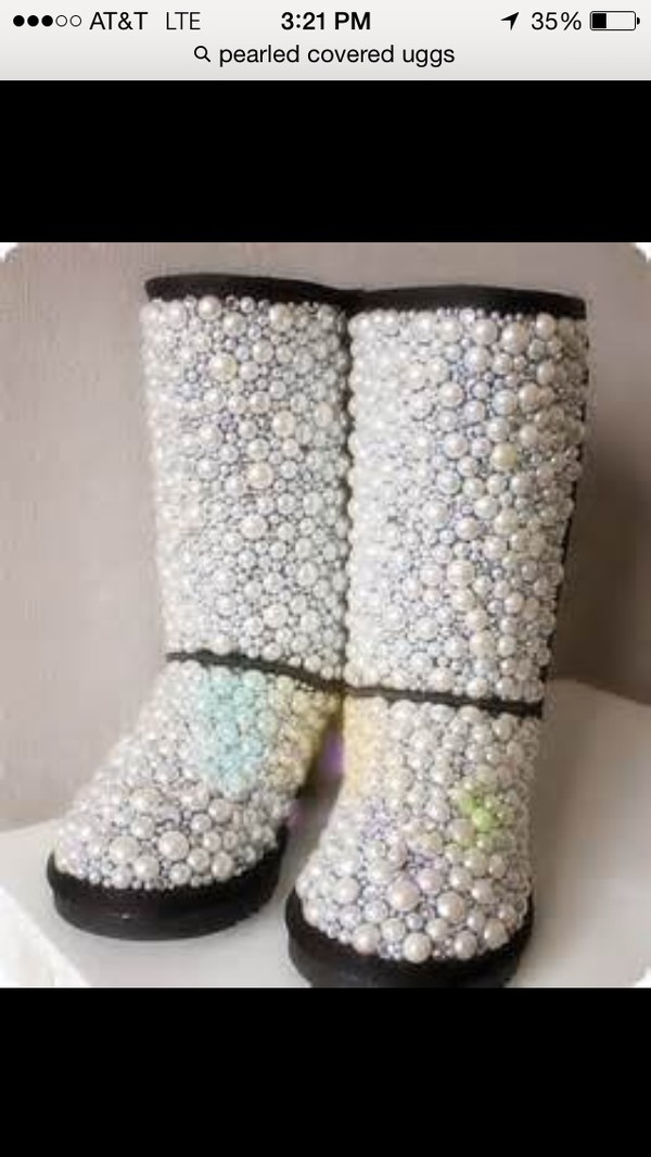 uggs with pearls all over them. shoes