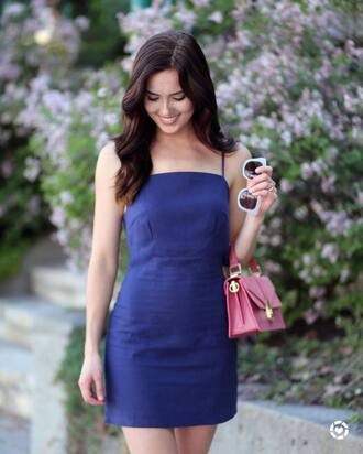 bag tumblr pink bag handbag dress mini dress blue dress slip dress summer dress summer outfits date outfit