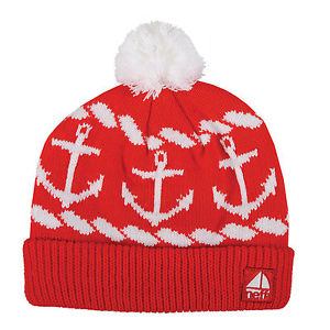 Neff Sailor Ahoy Anchors Nautical Knit Beanie Cap Hat Red White | eBay
