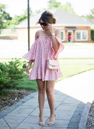 life & messy hair blogger dress bag shoes jewels sunglasses pink dress summer dress crossbody bag sandals high heel sandals