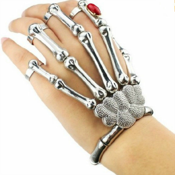 Full Hand Metal Skeleton Bracelet/Rings - Rings | RebelsMarket