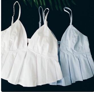 top white top white crop tops tennis skirt crop tops crop halter crop top halter top