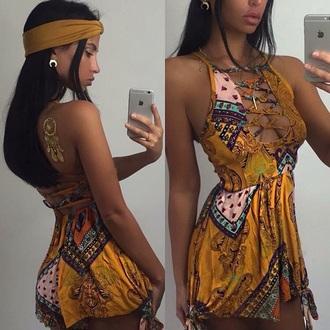 jumpsuit yellow aztec design playsuit