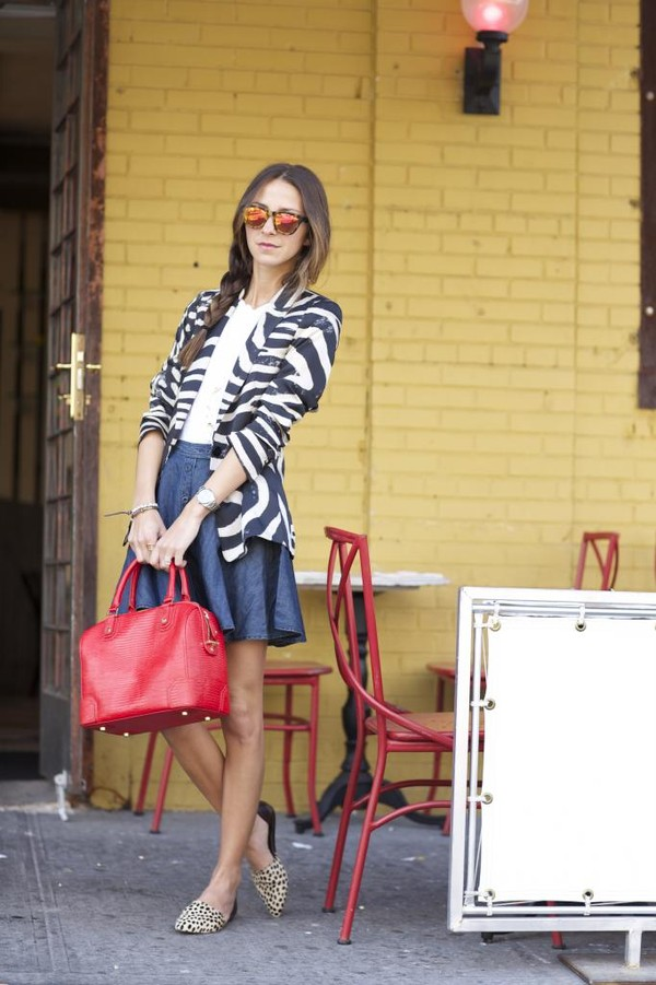 something navy skirt jacket sunglasses shoes