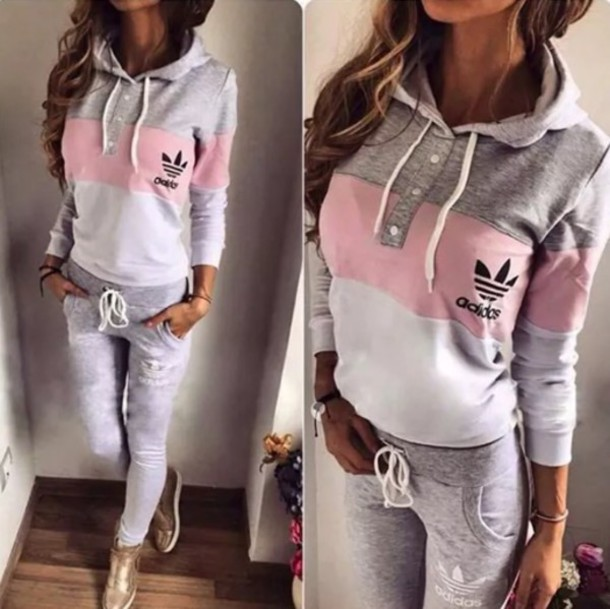 Shirt: adidas, style, trendy, pink, grey, sweater, leggings, cute ...