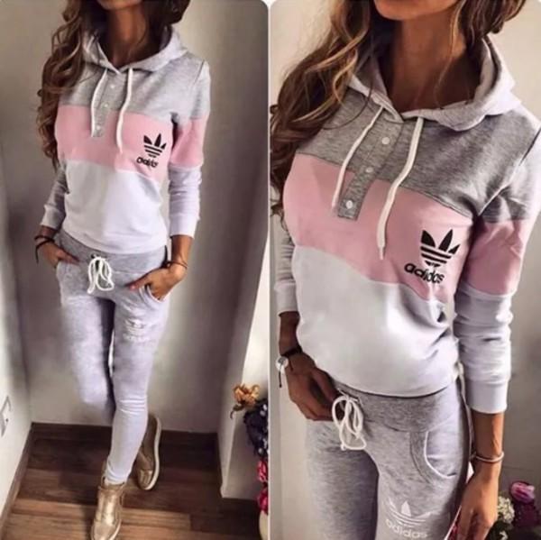 Shirt Adidas Style Trendy Pink Grey Sweater