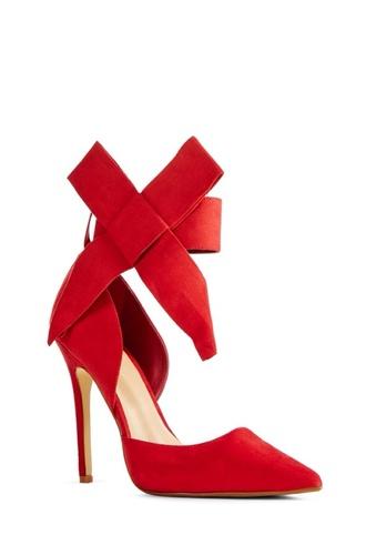 high heels large bow just fab black redheels