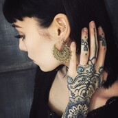 earrings,gold jewelry,indie,hannah pixie snowdon,henna,jewels
