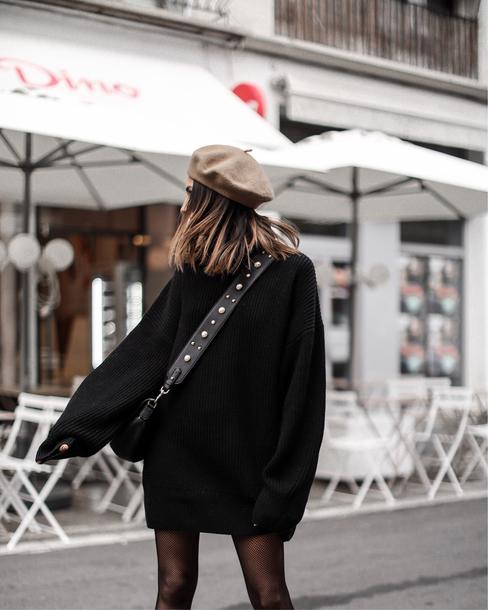 dress tumblr sweater sweater dress knit knitwear knitted dress beret hat winter dress tights