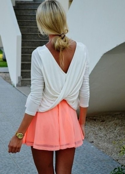 neon skirt shirt white shirt backless top summer outfits wrap shirt coral skirt pink white blouse white twist soft dress