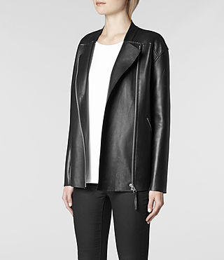 Womens Abbey Leather Biker Jacket (Black) | ALLSAINTS.com