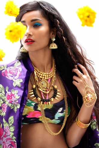 multi colored gold jewelry floral jacket seen in picture