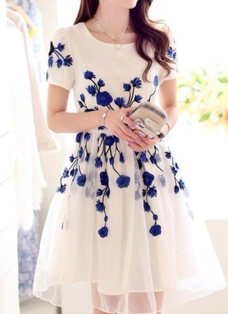 dress floral dress white dress girly cute dress