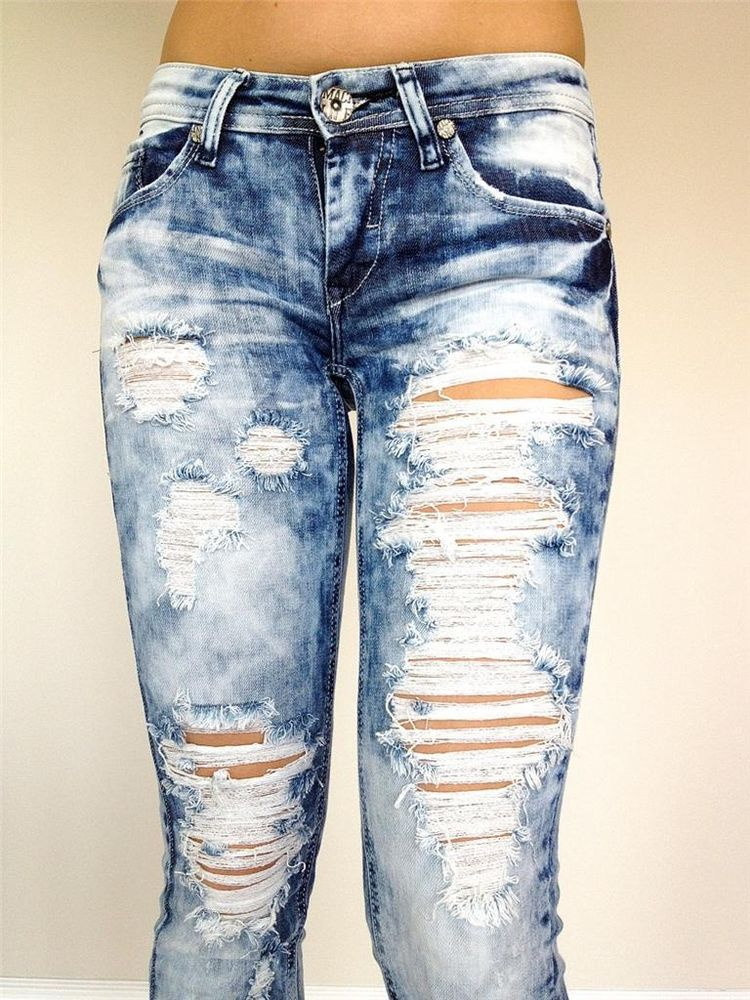 new machine jeans ripped destroyed distressed women stone washed skinny slim fit ebay. Black Bedroom Furniture Sets. Home Design Ideas
