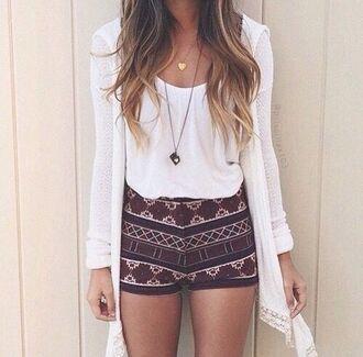 shorts pattern bohemian girly cute nice summer summer outfits spring spring outfits spring shorts summer shorts top cardigan jewels