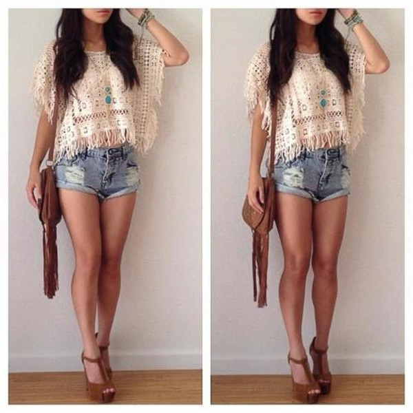 bag High waisted shorts shirt necklace jeans sweater