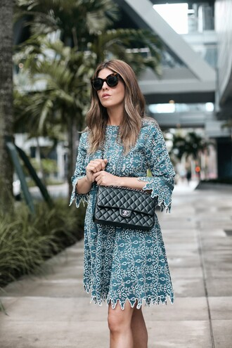 dress tumblr mini dress blue dress green dress sunglasses bag black bag cat eye