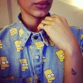 shirt,t-shirt,collar,denim,bart simpson,the simpsons,unisex,top