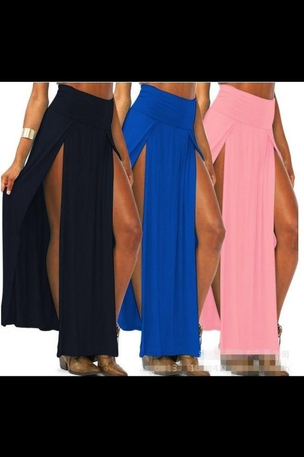 skirt high waisted cut-out high waist skirts double slit skirt blue skirt black skirt pink skirt long skirt maxi skirt maxi skirt slit cute sexy sexy skirt bodycon maxi v cut slit high waisted