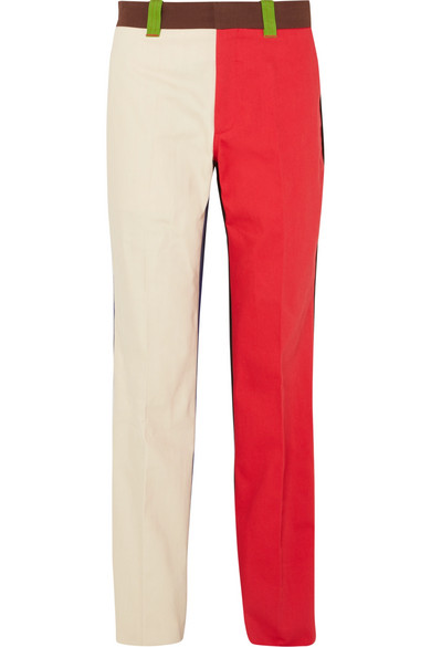 CALVIN KLEIN 205W39NYC - Color-block cotton-drill pants