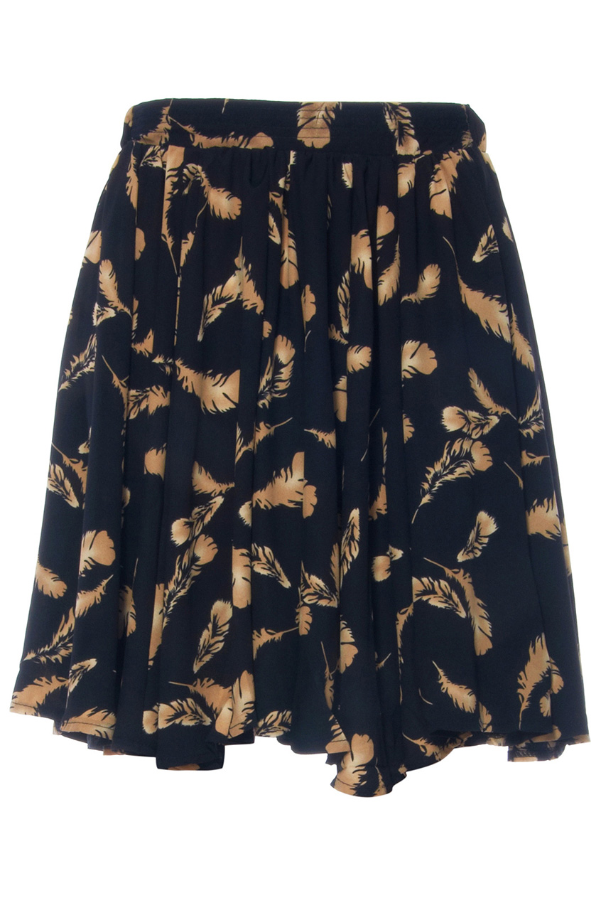 Khaki feather print black skirt, the latest street fashion