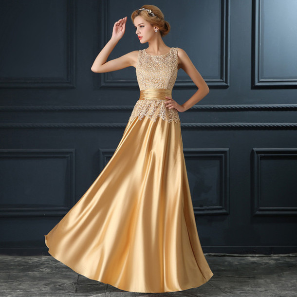 dress, gold, evening dress, long evening dress, prom dress, evening ...