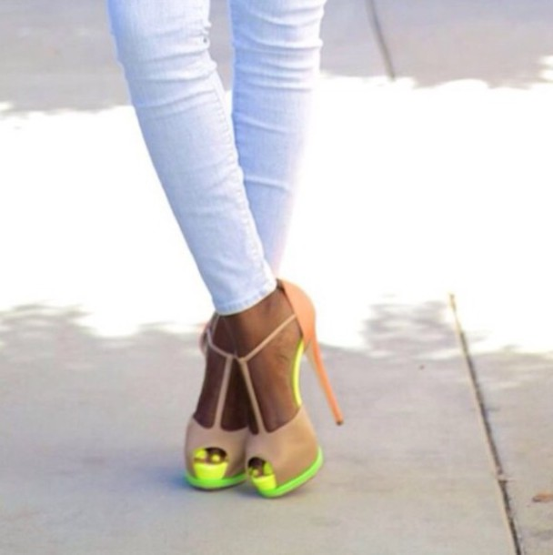 shoes high heels neon yellow heels