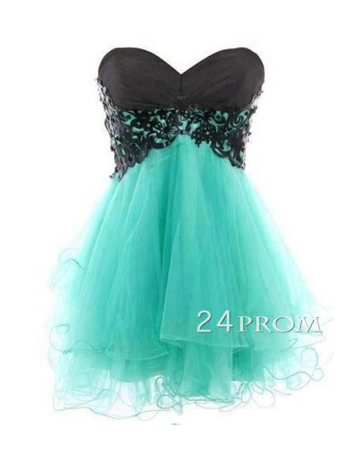 Green sweetheart ball gown mini prom dress, homecoming dress