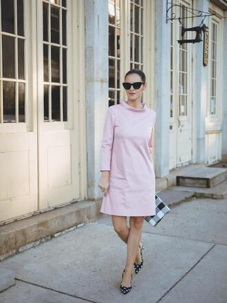 dress tumblr mini dress pink dress sunglasses shoes pumps long sleeves long sleeve dress