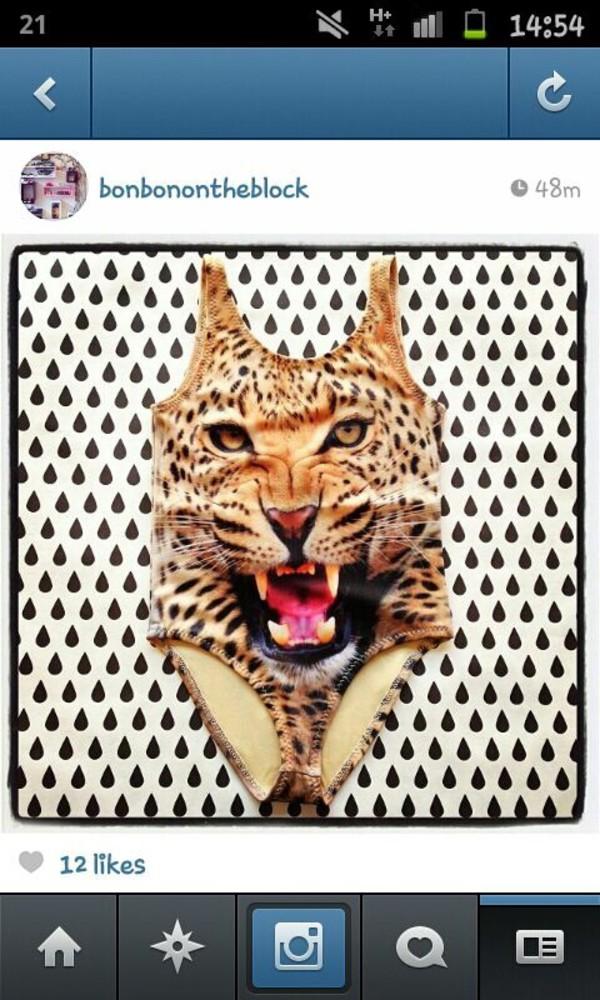 swimwear hot victoria's secret bikini tiger bag animal face print