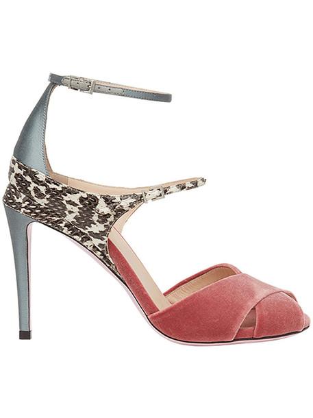 Fendi ankle strap women sandals cotton red shoes