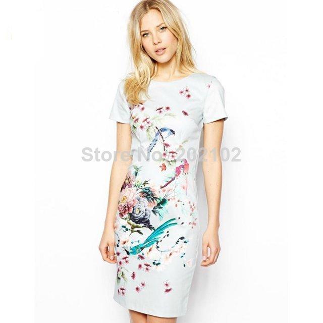 9043 - 2014 summer new women's bag hip round neck positioning bird flower print dress | Amazing Shoes UK