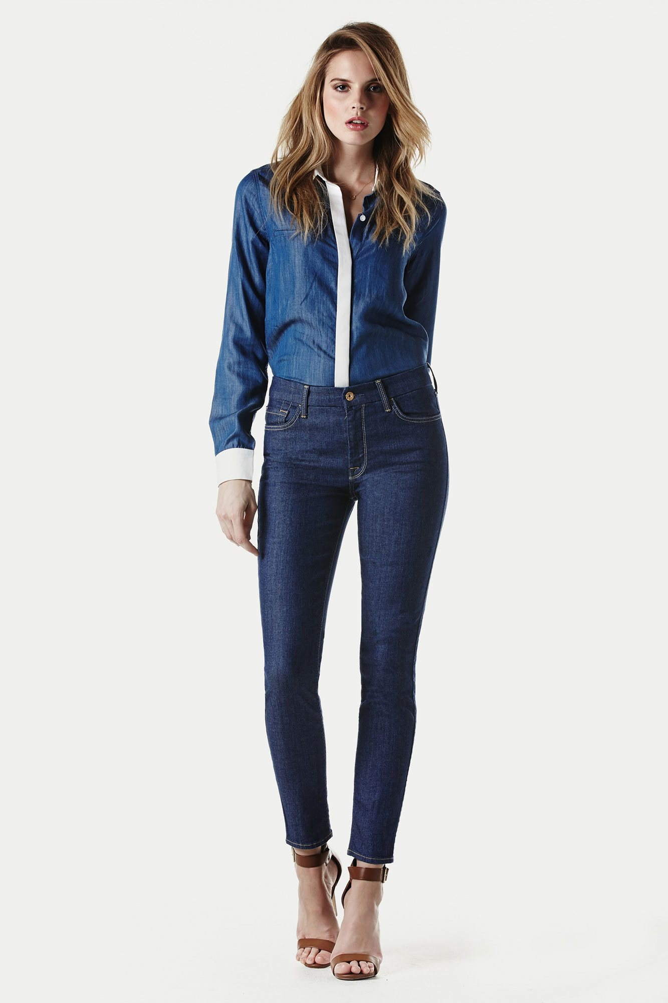 The High Waist Ankle Skinny In Indigo Twill (28