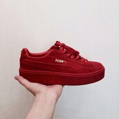 shoes,creepers,puma,red sneakers,sneakers,red puma,platform sneakers,puma creepers rihana,puma fenty,flatforms,puma suede,puma sneakers,red,burgundy,platform shoes