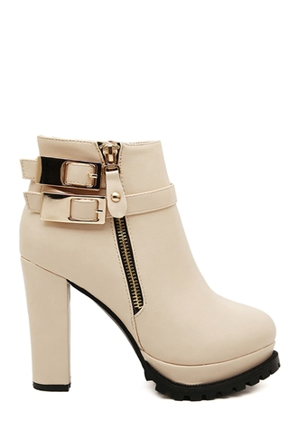shoes boots nude beige fashion fall outfits heels style zip buckles