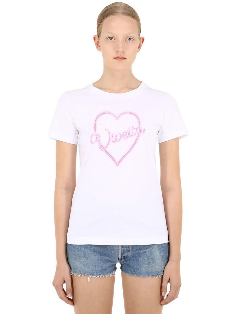 VIVETTA Logo Heart Print Cotton T-shirt in white