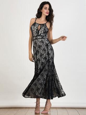dress chiclook closet lace dress lace black dress maxi dress strappy boho chic beautiful trendy girly