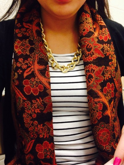 floral scarf necklace striped shirt
