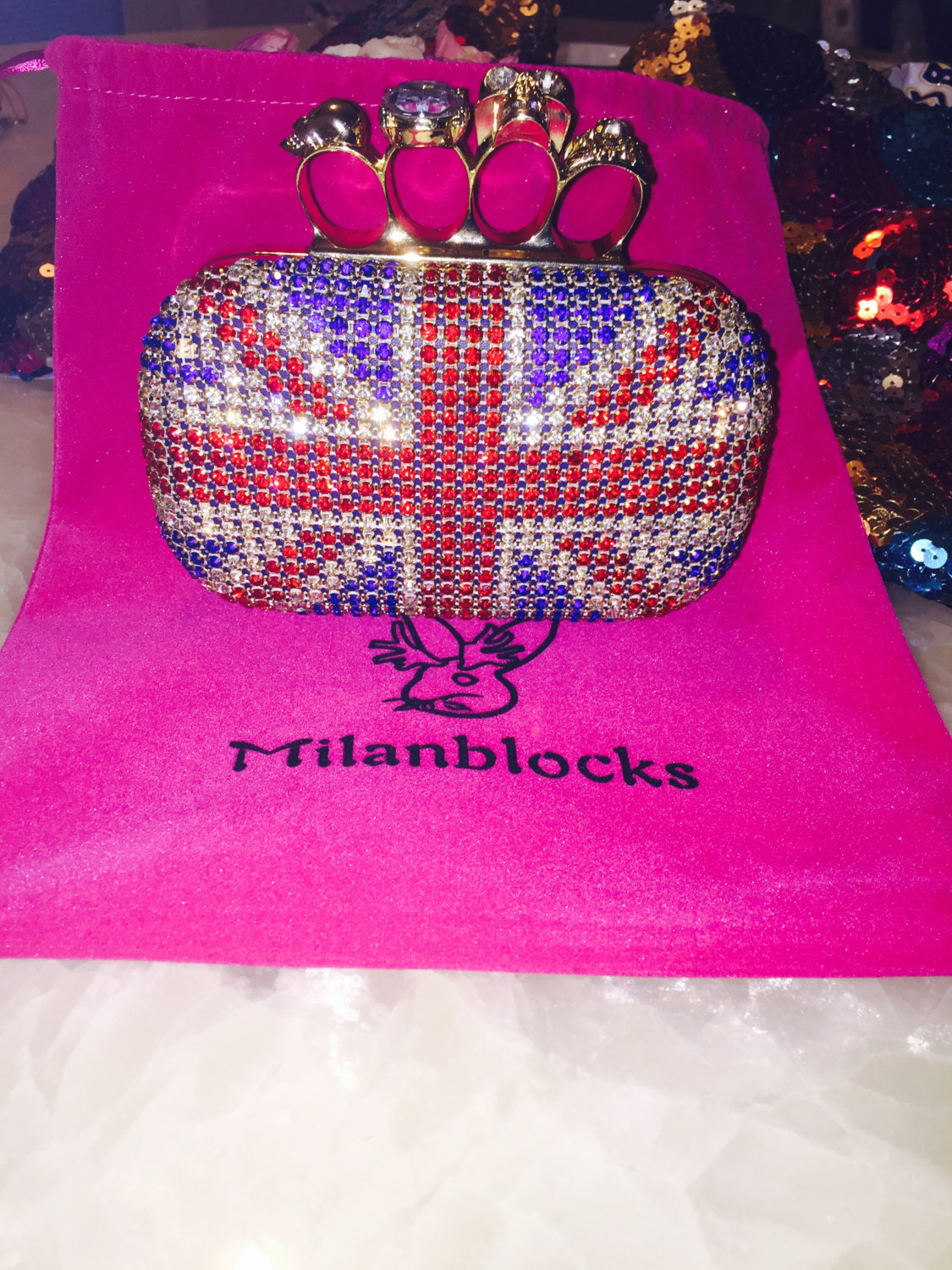 Skull knuckle ring box bead evening clutch bridal wedding unique union jack swaroski party gift clutch custom purse milanblocks brand
