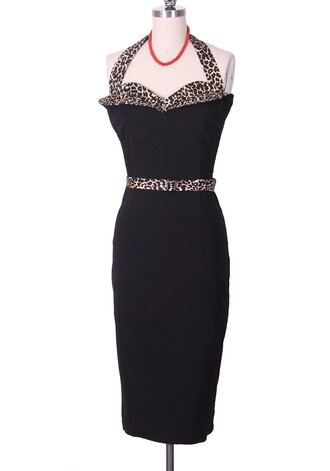 50s style black dress vintage dress sexy dress retro halter dress wiggle pin up leopard print