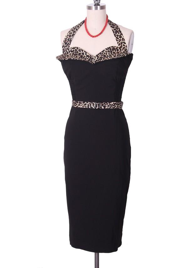 50s style 50s style black dress vintage dress sexy dress retro halter dress wiggle Pin up leopard print