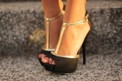 heels,black heels,black shoes,prom heels,high heels,black high heels,ankle strap heels,gold,black,pumps,black and gold shoes