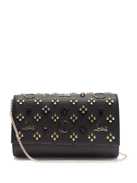 christian louboutin leather clutch embellished clutch leather gold black bag