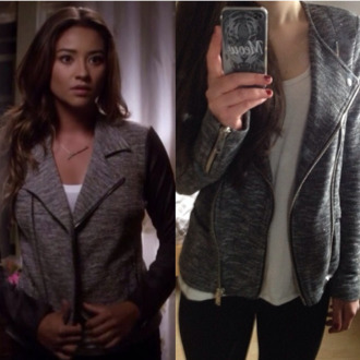 jacket grey jacket pretty little liars emily from pretty little liars