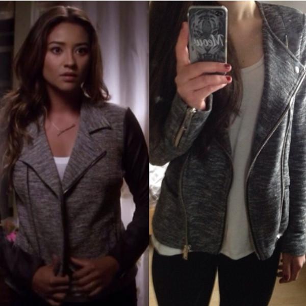 jacket grey jacket pretty little liars emily from pretty little liars