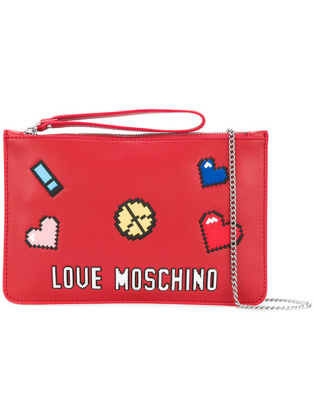 women love bag clutch leather red