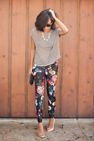 pants floral hipster print cute tumblr indie
